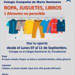 Campaña Solidaria Ropa, Juguetes, Libros, 1 alimento no perecible